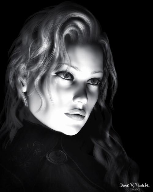 Black and White Beautiful Woman Illustration