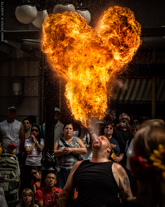 Inferno the Human Dragon - Fire-breather street performer at the Ottawa Busker Festival.